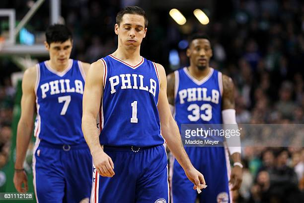 J McConnell of the Philadelphia 76ers reacts during the fourth quarter against the Boston Celtics at TD Garden on January 6 2017 in Boston...