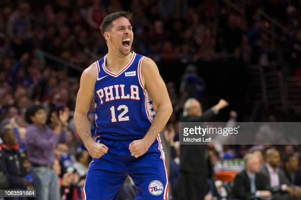 J McConnell of the Philadelphia 76ers reacts in the third quarter against the Phoenix Suns at the Wells Fargo Center on November 19 2018 in...