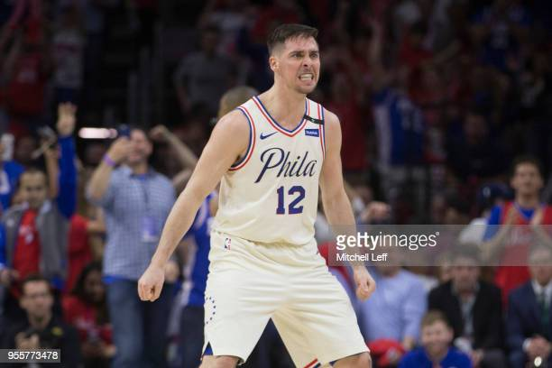 J McConnell of the Philadelphia 76ers reacts in the third quarter against the Boston Celtics during Game Four of the Eastern Conference Second Round...