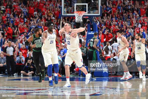 J McConnell of the Philadelphia 76ers reacts to a play in Game Four of the Eastern Conference Semifinals against the Boston Celtics during the 2018...