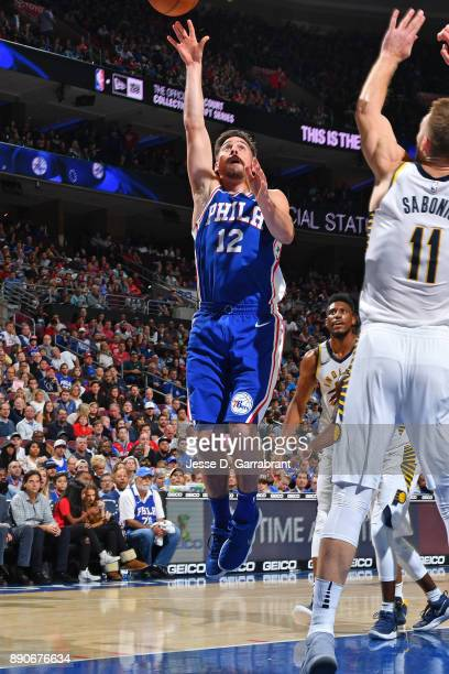 J McConnell of the Philadelphia 76ers shoots the ball against the Indiana Pacers on November 3 2017 at Wells Fargo Center in Philadelphia...