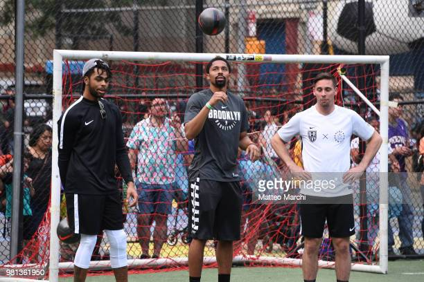 J McConnell Spencer Dinwiddie and D'Angelo Russell before the 2018 Steve Nash Showdown on June 20 2018 in New York City