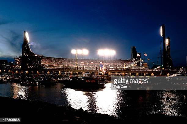 McCovey Cove is seen as the San Francisco Giants take on the Kansas City Royals in Game Three of the 2014 World Series at AT&T Park on October 24,...