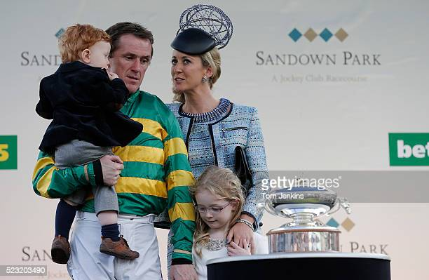 AP McCoy at the presentation ceremony for champion jockey with daughter Eve son Archie and wife Chanelle before his final ever ride during AP McCoy's...