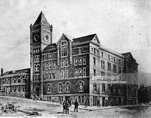 McCoy Hall Old Campus Levering Hall Old Campus photograph of drawing of McCoy and Levering Halls Johns Hopkins University Baltimore Maryland 1890