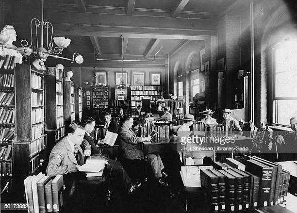 McCoy Hall, Old Campus, Library, Old Campus interior, third floor reading room, Johns Hopkins University, Baltimore, Maryland, 1915.
