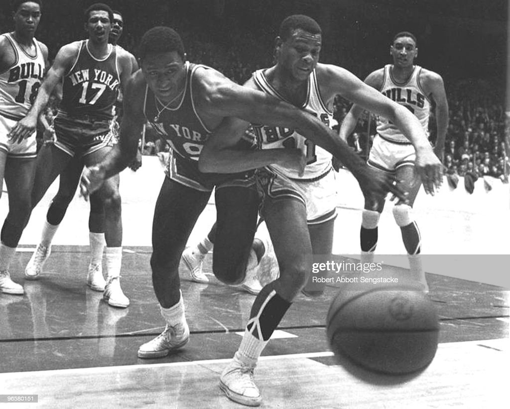 Willis Reed And Clem Haskins Go For A Loose Ball : News Photo