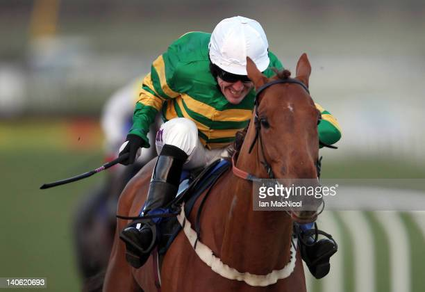 McCoy rides Sundown Trail to victory in the Bet Totepool Text tote To 89660 Handicap Hurdle at Kelso racecourse on March 03, 2012 in Kelso, United...