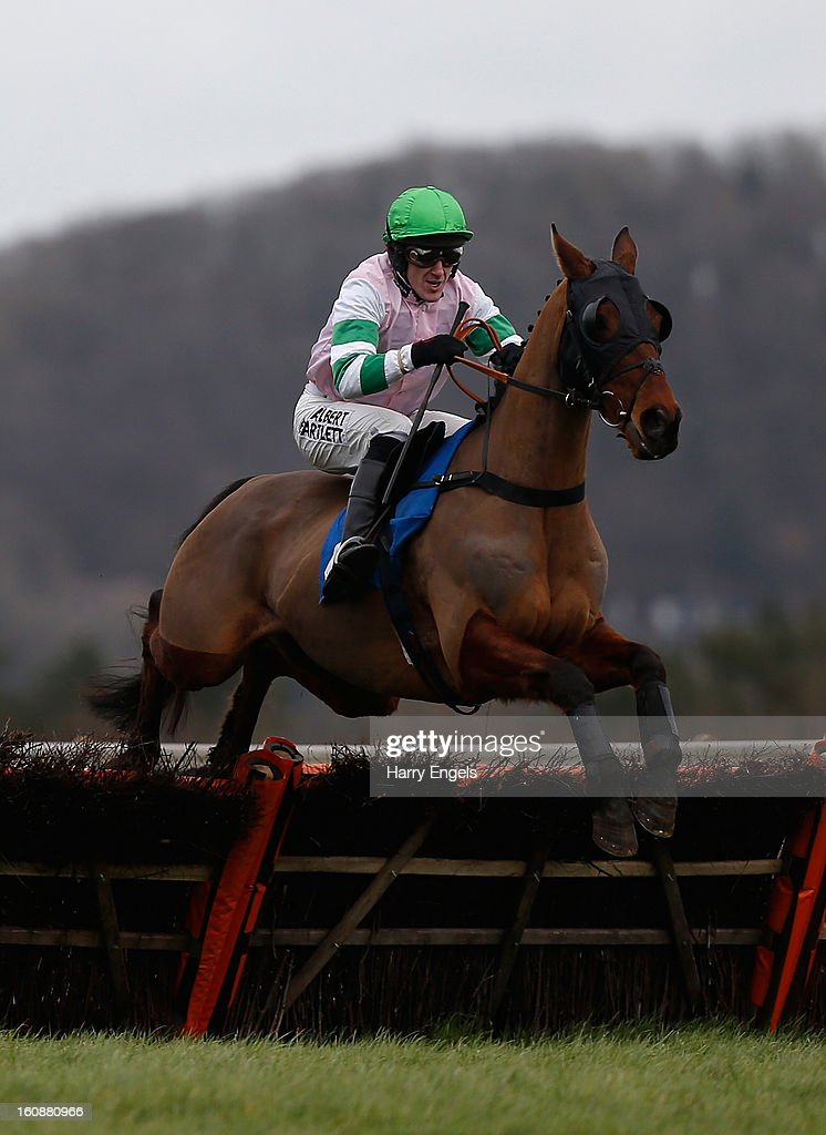 A.P. McCoy riding Bellflower Boy clears a hurdle during the Rural Living Show 23rd Match Claiming Hurdle Race at Taunton Racecourse on February 7, 2013 in Taunton, England.