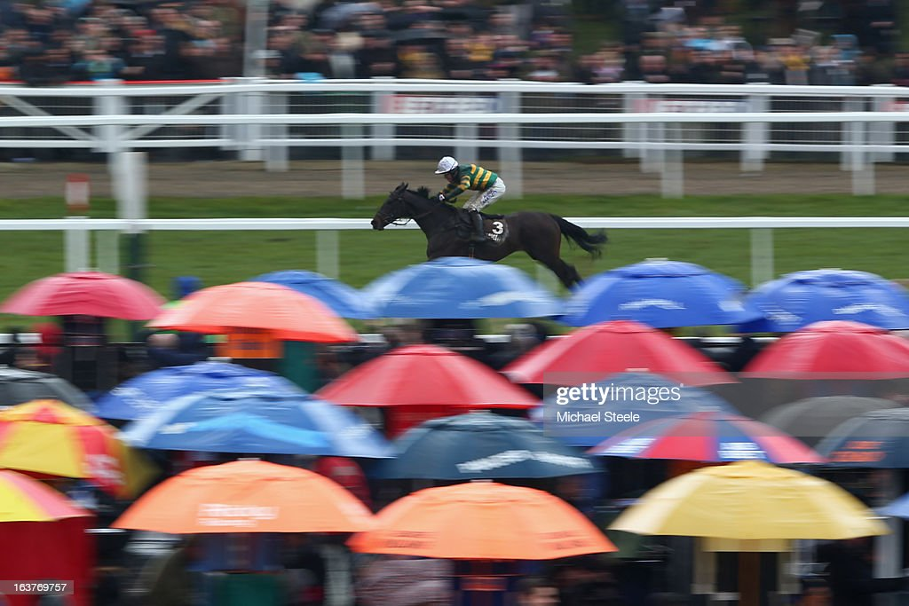 McCoy riding Fishers Cross on his way to winning the Albert Bartlett Novices' Hurdle Race during Gold Cup day at Cheltenham Racecourse on March 15, 2013 in Cheltenham, England.