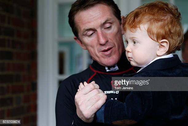 AP McCoy with his son Archie before racing starts during AP McCoy's final day of riding before retirement at Sandown Park racecourse on April 25th...