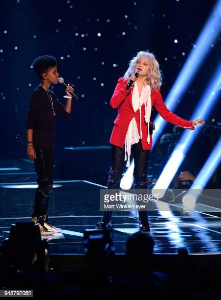 McCrary and Cyndi Lauper perform onstage at WE Day California at The Forum on April 19 2018 in Inglewood California