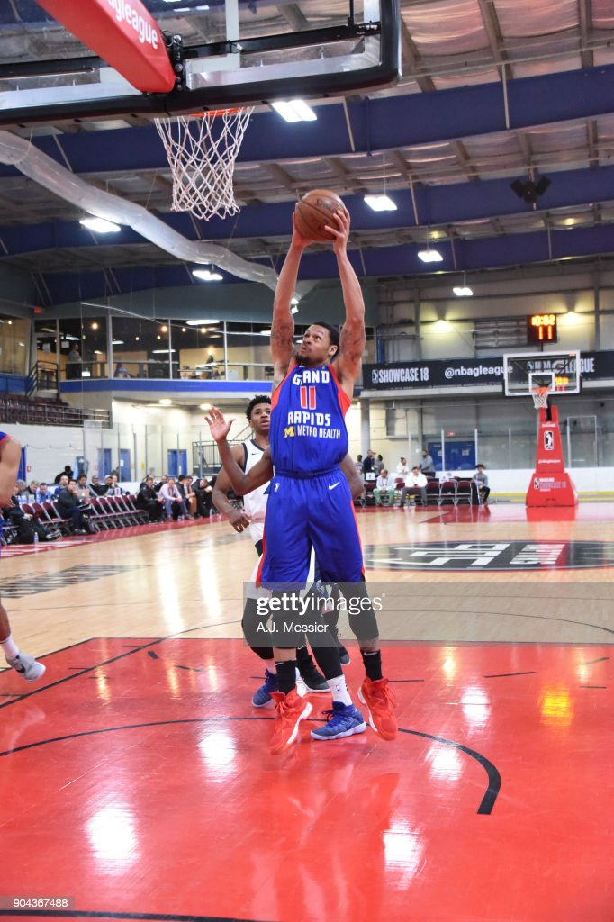 KJ McDaniels #11 of the Grand Rapids Drive shoots the ball against the Iowa Wolves NBA G League Showcase Game 20 between the Grand Rapids Drive and the Iowa Wolves on January 12, 2018 at the Hershey Centre in Mississauga, Ontario Canada.