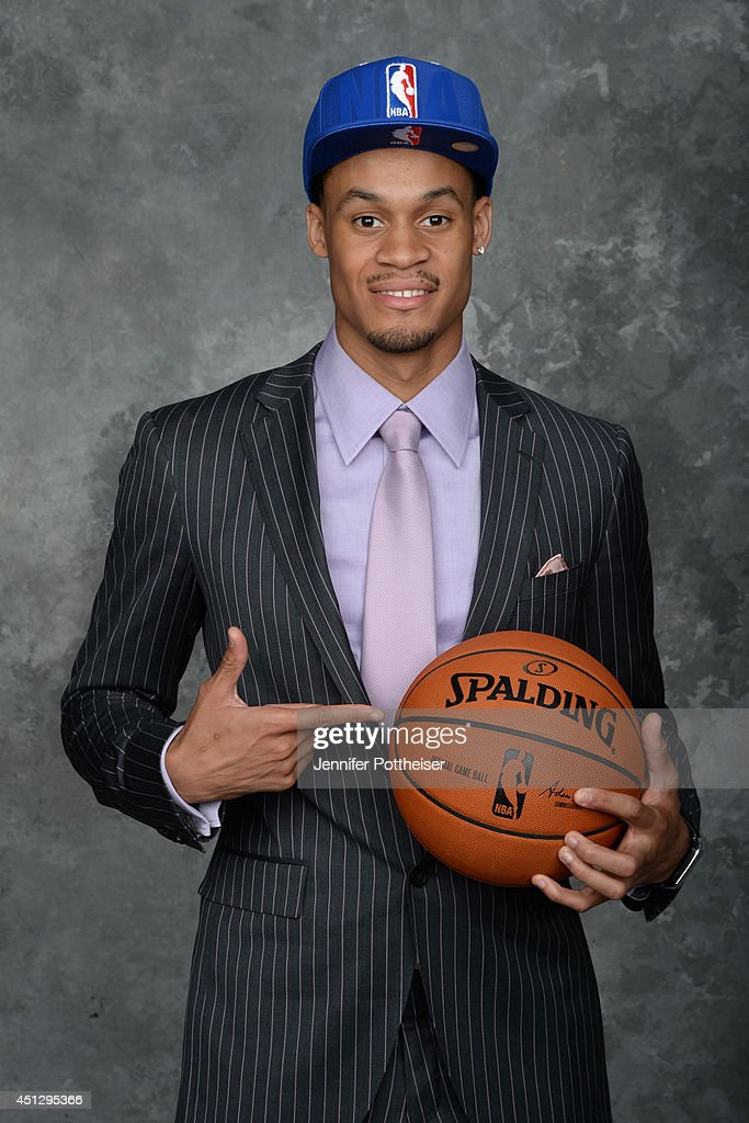 K.J. McDaniels, the 32nd pick overall by the Philadelphia 76ers, poses for a portrait during the 2014 NBA Draft at the Barclays Center on June 26, 2014 in the Brooklyn borough of New York City.