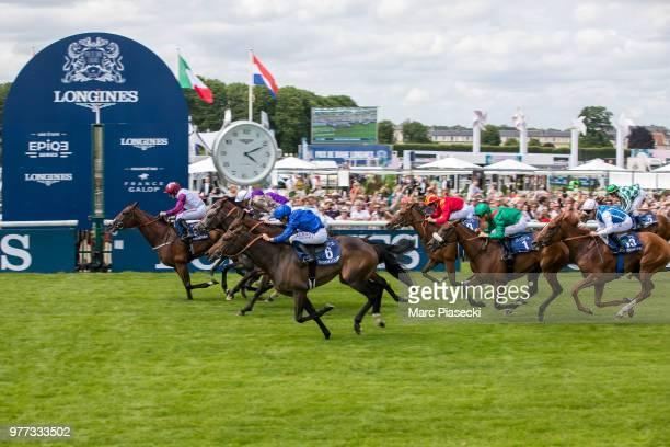 McDonald of England riding Laurens races during the Prix de Diane Longines on June 17 2018 in Chantilly France