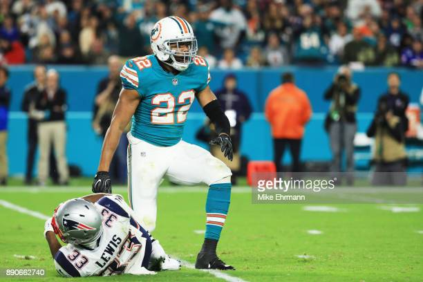 J McDonald of the Miami Dolphins reacts after stopping Dion Lewis of the New England Patriots in the third quarter at Hard Rock Stadium on December...