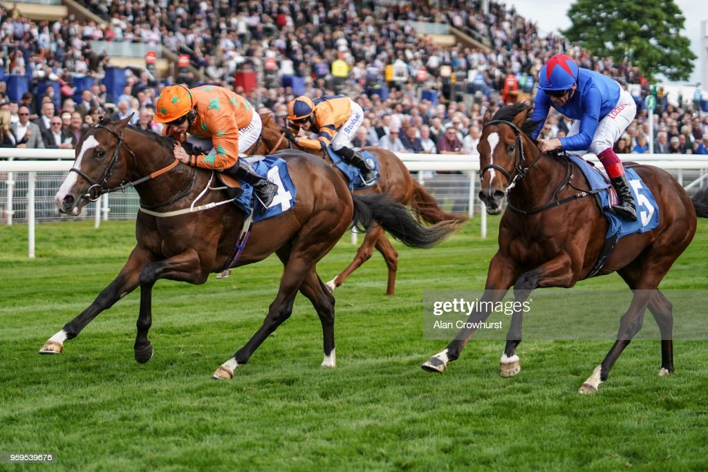 PJ McDonald riding I Am A Dreamer (L) win The Stratford Place Stud Breeds Group Winners EBD Stallions.com Maiden Stakes at York Racecourse on May 17, 2018 in York, United Kingdom.