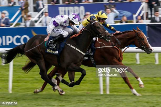 McDonald riding Time To Study win The William Hill Mallard Handicap Stakes from Byron Flyer at Doncaster racecourse on September 15 2017 in Doncaster...