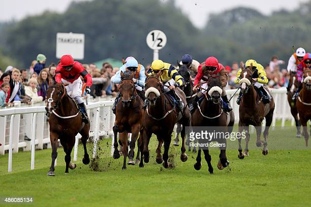 J McDonald wins the race on Dubai Dynamo during the Ripon Rowels Handicap Stakes race at Ripon racecourse on August 31 2015 in Ripon England
