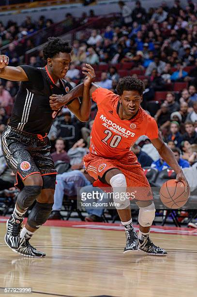 Mcdonald's All American East Boys Team Justise Winslow battles with West Team Stanley Johnson in action during the 2014 Boy's McDonald's All American...