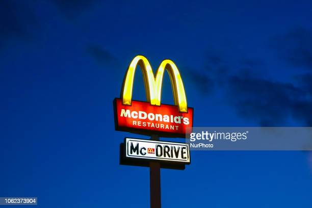 McDonald's and McDrive Restaurant advertising pilla in Krakow Poland on 13 December 2017