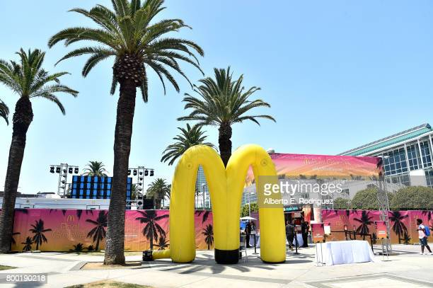 McDonald's branding on display at day one of the Pool Groove, sponsored by McDonald's, during the 2017 BET Experience at Gilbert Lindsey Plaza on...