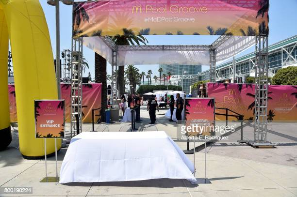 McDonald's branding on display at day one of the Pool Groove sponsored by McDonald's during the 2017 BET Experience at Gilbert Lindsey Plaza on June...