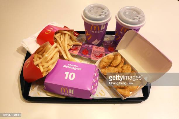 McDonald's BTS meal is seen on May 27, 2021 in Seoul, South Korea. McDonald's has released a new celebrity meal 'BTS Meal' in collaboration with BTS...