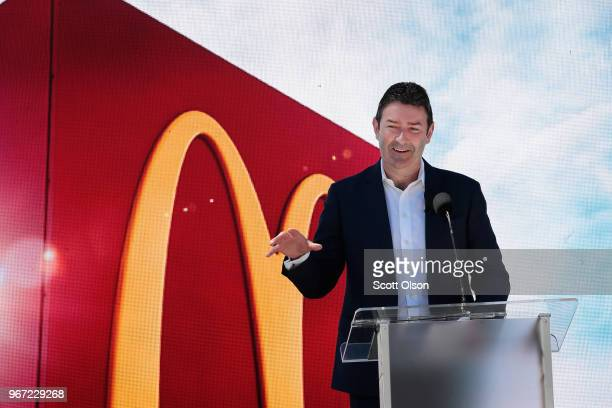McDonald's CEO Stephen Easterbrook unveils the company's new corporate headquarters during a grand opening ceremony on June 4 2018 in Chicago...