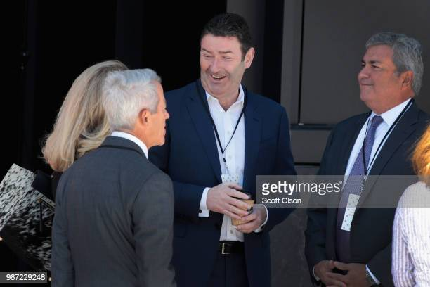 McDonald's CEO Steve Easterbrook chats with guests at the unveiling of the company's new corporate headquarters on June 4 2018 in Chicago Illinois...