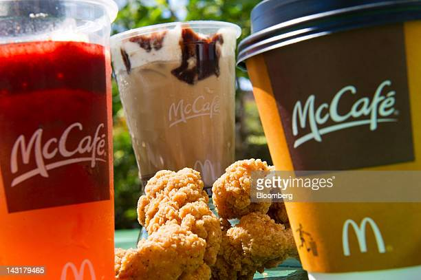 McDonald's Corp chicken selects a McCafe coffee iced caramel mocha and strawberry banana fruit smoothie are arranged for a photograph in San...