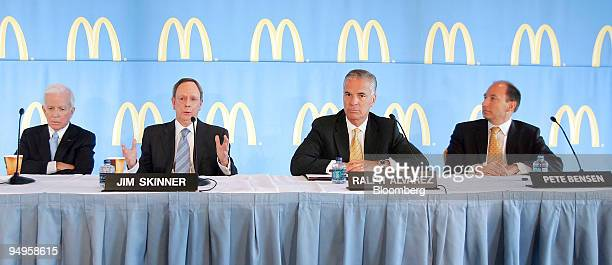 McDonald's Corp executives from left Andrew J McKenna nonexecutive chairman James A Skinner vice chairman and chief executive officer Ralph Alvarez...