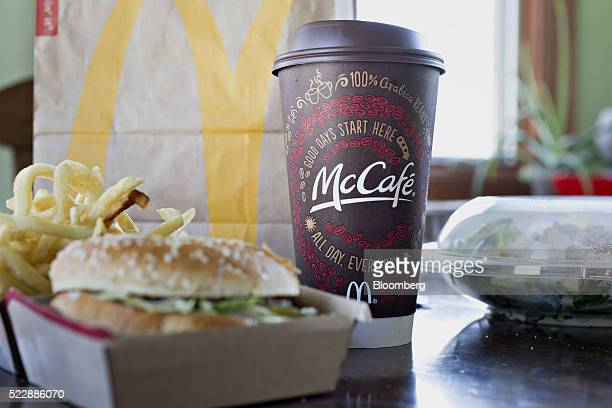 A McDonald's Corp McCafe coffee is arranged for a photograph in Tiskilwa Illinois US on Friday April 15 2016 McDonald's Corp is expected to report...