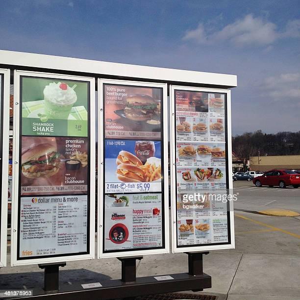 McDonald's Drive Thru Menu