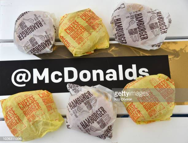 McDonald's hamburgers and cheeseburgers are offered at McDonald's at Made In America Festival on September 2 2018 in Philadelphia Pennsylvania