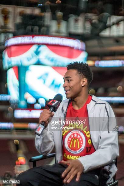 McDonald's High School AllAmerican forward Chuck O'Bannon Jr gives interviews to the media during the McDonald's AllAmerican Games Media Day on March...