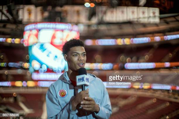 McDonald's High School AllAmerican guard Quade Green gives interviews to the media during the McDonald's AllAmerican Games Media Day on March 28 at...