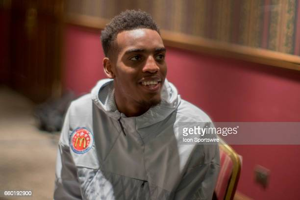 McDonald's High School AllAmerican guard Troy Brown Jr gives interviews to the media during the McDonald's AllAmerican Games Media Day on March 28 at...
