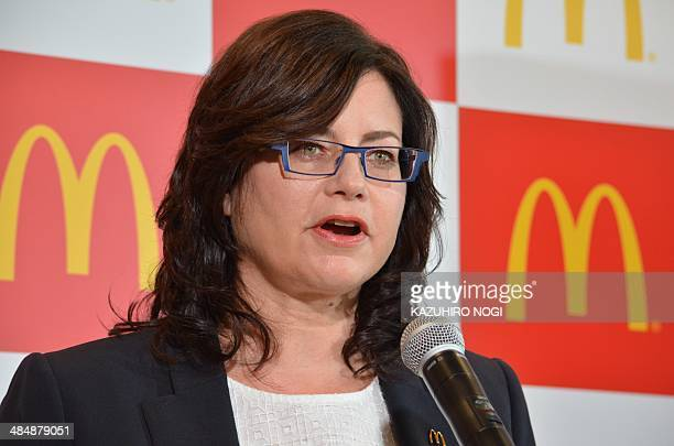McDonald's Japan CEO and President Sarah Casanova speaks during a press briefing to announce the company's new menu for families in Tokyo on April 15...