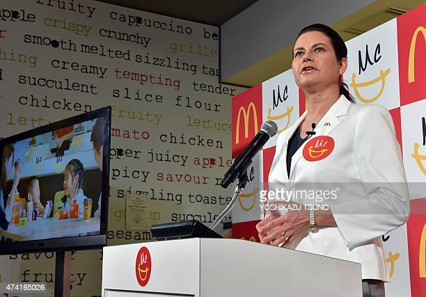 McDonald's Japan president Sarah Casanova speaks before press as she announces the new business strategy and the new menu at a restaurant in Tokyo on...
