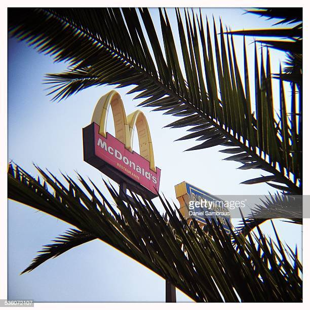 McDonald's logo and blockbuster logo seen through a palm tree