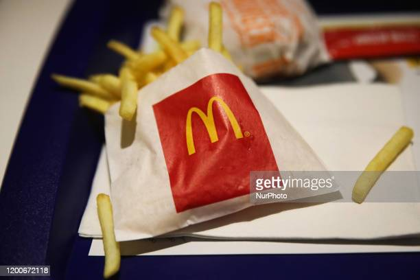 McDonald's logo is seen on the french fries packet in restaurant in Krakow Poland on February 9 2020
