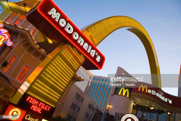 mcdonalds neon signs on las vegas boulevard - mcdonald's stock pictures, royalty-free photos & images