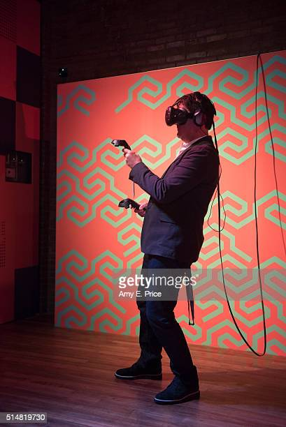 McDonald's President and CEO Steve Easterbrook participates in the virtual reality experience at the McDonald's Loft at TEXTILE at SXSW on March 11...