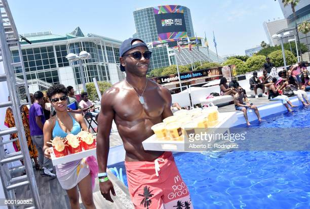 McDonald's products are served at day one of the Pool Groove, sponsored by McDonald's, during the 2017 BET Experience at Gilbert Lindsey Plaza on...