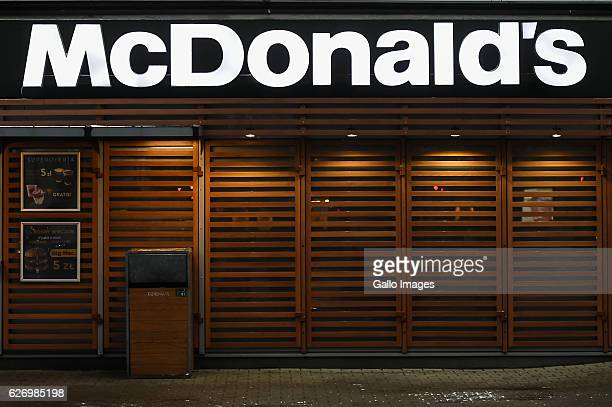 McDonald's restaurant logo on the building located in the city center on November 30 2016 in Warsaw Poland Warsaw is home to many national...