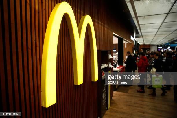 McDonald's restaurant logo seen at Lisbon Portela Airport