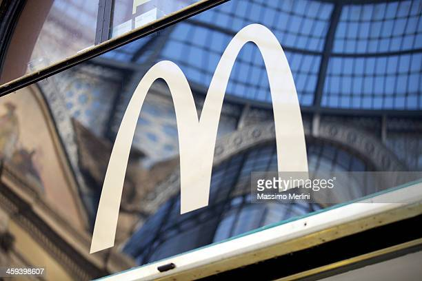mcdonalds sign in milan - mcdonald's stock photos and pictures