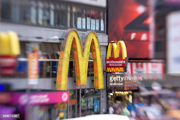 mcdonalds sign in times square - mcdonald's stock photos and pictures