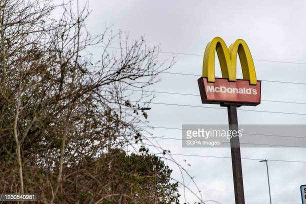 McDonalds sign is seen in Wales. Due to rising levels of covid infection - and the high prevalence of a more infectious variant of the virus, all of...